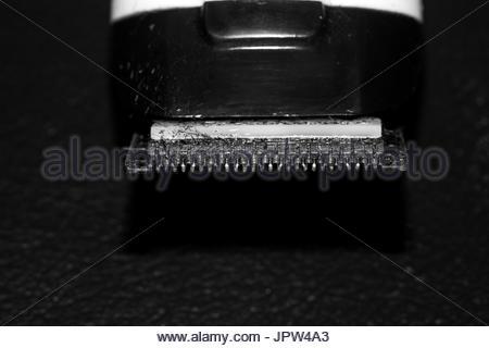 trimmer blade shaving machine macro  isolated black white - Stock Photo