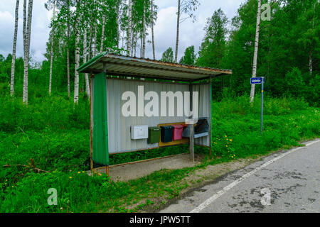 View of a bus stop with mail boxes, in the Lakeland region, Finland - Stock Photo