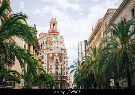 Valencia, Spain - June 3, 2017: Bank of Valencia Banco de Valencia . Modern architecture in the old city center - Stock Photo