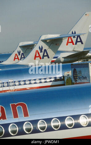 American Airlines McDonnell Douglas MD-80s and Boeing 767 parked - Stock Photo