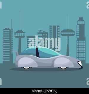 futuristic city landscape silhouette with colorful white modern car vehicle - Stock Photo