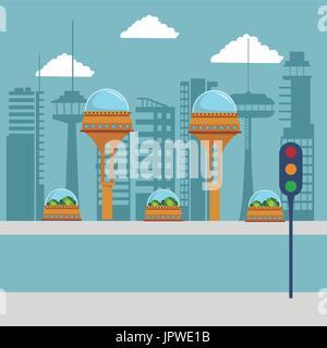 colorful scene futuristic city metropolis with traffic light in the street - Stock Photo
