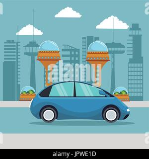 colorful scene futuristic city metropolis with small blue car vehicle - Stock Photo
