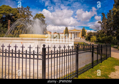 The Zappeion with fountain in Athens, Greece - Stock Photo