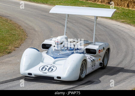 1966 Chaparral-Chevrolet 2E Can-Am racer with driver Jim Hall Jr at the 2017 Goodwood Festival of Speed, Sussex, - Stock Photo