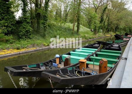 Horned boats in the Hortillonnages of Amiens - France - Stock Photo