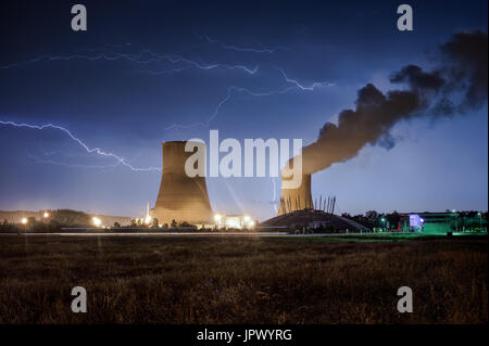 Storm on the nuclear power plant of Civaux - France - Stock Photo