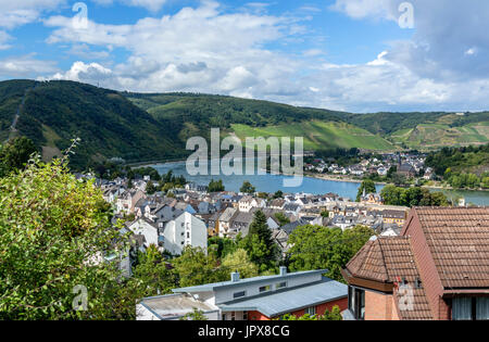 View over Boppard on the River Rhine, Rhineland-Palatinate, Germany - Stock Photo