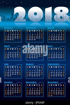 Urban blue calendar for 2018, weeks starts on Sunday - Stock Photo