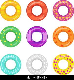 Lifebuoy icon set. Rings for swimming collection.Flat cartoon style, isolated on white background. Vector illustration - Stock Photo