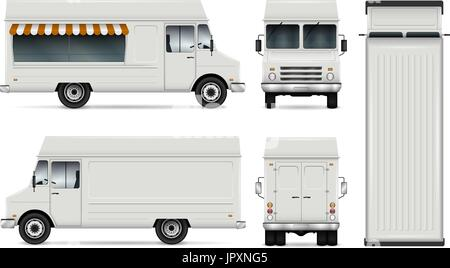Food truck vector template for car branding and advertising. Isolated delivery van illustration on white. All layers - Stock Photo
