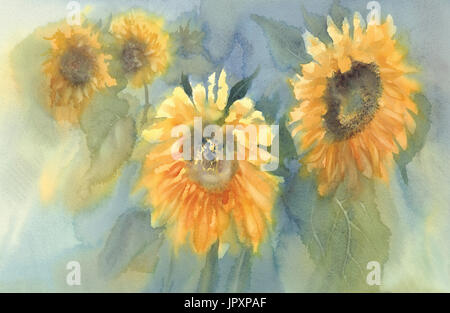 sunflowers on the green background watercolor - Stock Photo