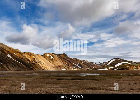 Rhyolite mountains near campground, Landmannalaugar, Fjallabak Nature Reserve, Iceland