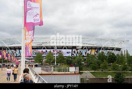 London, UK. 2nd Aug, 2017. Flags with the logo of the Athletics World Championships 2017 at the Olympic Stadium - Stock Photo
