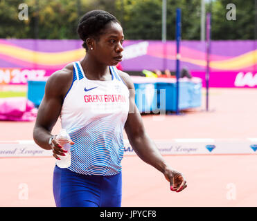 London, UK. 03rd Aug, 2017. London, 03 August 2017. Anyika Onuora of Great Britain at the practice track ahead of - Stock Photo