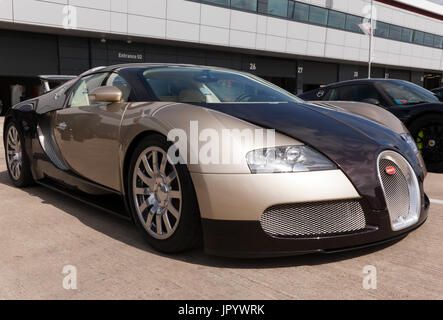 Three-quarter view of a 2007 Bugatti Veyron EB 16.4 on static display in the International Paddock at the 2017 Silverstone - Stock Photo