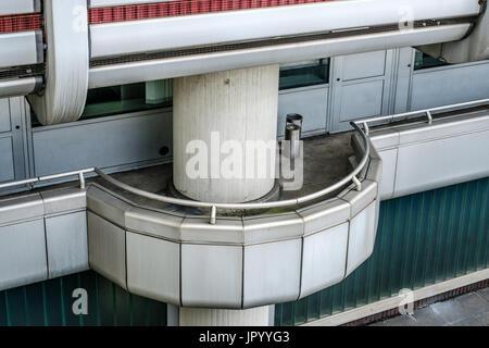 smoking outside, empty balcony with ashtray - Stock Photo