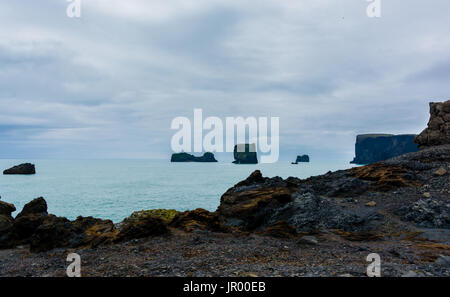 Dyrholaey small peninsula, located on the south coast of Iceland - Stock Photo