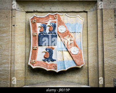 Jesus College Cambridge - Coat of Arms of Jesus College, part of the University of Cambridge, UK - Stock Photo
