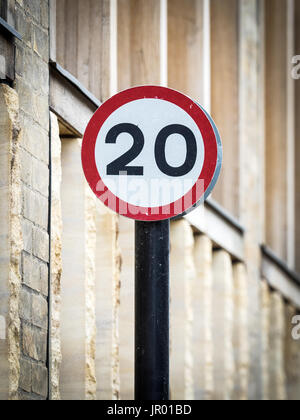 20MPH Speed Limit Signs - 20 mph speed restriction zones are more common in UK Cities now - Stock Photo