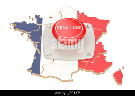 Sanctions button on map of France, 3D rendering isolated on white background - Stock Photo