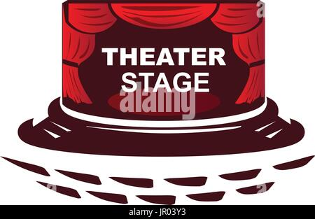 theater stage illustration, with seats and curtain, isolated on white background . - Stock Photo