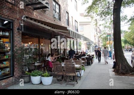 Quarter Bar and Restaurant on Hudson Street, West Village - New York - USA - Stock Photo