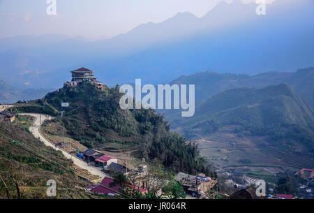 Cat Cat village in the middle of the mountains in Sapa, Lao Cai - Northwest of Vietnam - Stock Photo