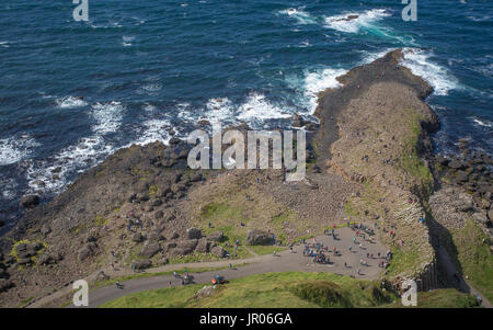 Bird view on a Giant`s Causeway coast one of the most popular tourists spots in the world Bushmills Antrim Northern - Stock Photo