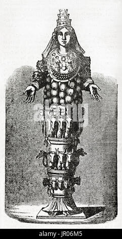 Old engraved reproduction of Artemis statue in Ephesus. By unidentified author, published on Magasin Pittoresque, - Stock Photo