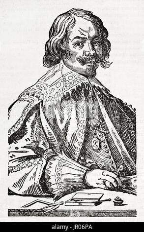 Old engraved portrait of Jacques Callot (1592 – 1635), baroque printmaker and draftsman from the Duchy of Lorraine. - Stock Photo