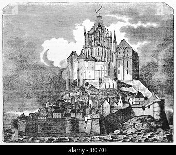 Old view of Mont Saint-Michel, Normandy, France. Created by Andrew, Best and Leloir, published on Magasin Pittoresque, - Stock Photo