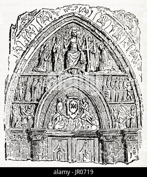Old illustration of Notre-Dame de Paris main portal.  By unidentified author, published on Magasin Pittoresque, - Stock Photo