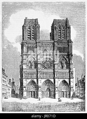 Old view of Notre-Dame facade, Paris. By unidentified author, published on Magasin Pittoresque, Paris, 1833. - Stock Photo