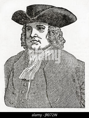Old engraved portrait of William Penn ( 1644 – 1718), founder of the Province of Pennsylvania. By unidentified author, - Stock Photo