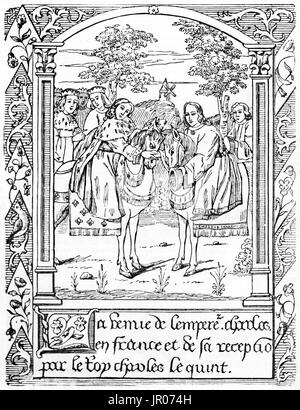 Old reproduction of a miniature depicting the meeting between king CharlesV of France and Holy Roman Emperor Charles - Stock Photo
