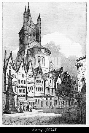 Old view of Great Sant Martin church, Cologne, Germany. Created by Jackson,  published on Magasin Pittoresque, Paris, - Stock Photo
