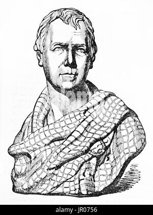 Old engraved reproduction of a portrait bust of Sir Walter Scott. By unidentified author after sculpture of Chantrey, - Stock Photo