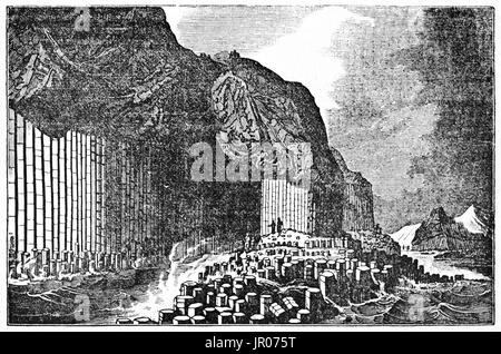Old view of  Fingal's Cave and  basalt formations in Staffa island, Inner Hebrides, Scotland. By unidentified author, - Stock Photo
