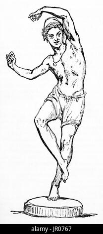 Old illustration of Neapolitan fisherman dancing Tarantella. Created by Giraud, Andrew, Best and Leloir after sculpture - Stock Photo