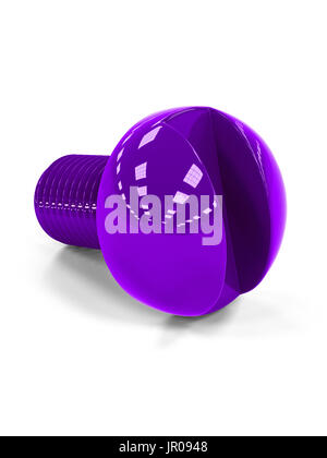 3D illustration of violet glossy isolated bolt on white background with shadow - Stock Photo