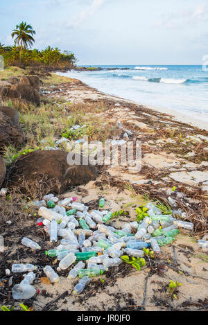 A Pile Of Plastic Bottles On The Shore Of Big Corn Island; Corn Islands, Nicaragua - Stock Photo