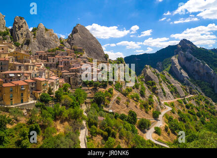 Castelmezzano (Italy) - A little altitude village, dug into the rock in the natural park of the Dolomiti Lucane, - Stock Photo