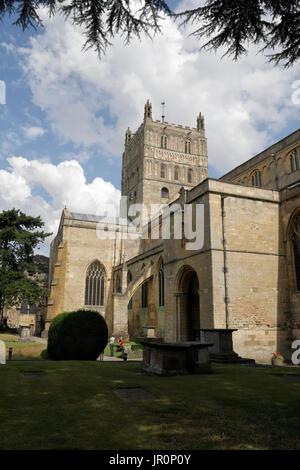 Tewkesbury Abbey in Gloucestershire England UK - Stock Photo