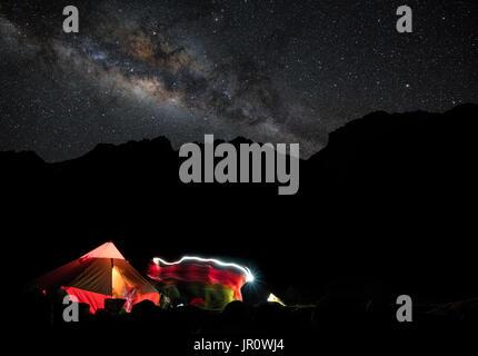 Camping in the Cordillera Blanca - Stock Photo