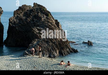 Spiaggia di Fegina beach, Monterossa Al Mare, Cinque Tera, Italy - Stock Photo