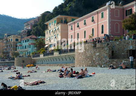 General view of Monterosso Al Mare, Cinque Terra, Italy - Stock Photo