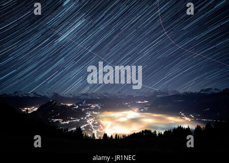 Arve valley in front of the Mont Blanc massif, shooting about 1h above the valley, Alps, France - Stock Photo