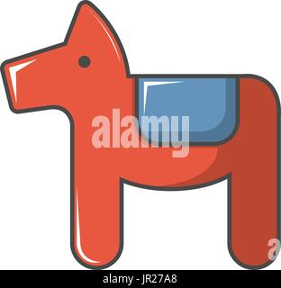 dala horse swedish symbol icon cartoon style stock photo
