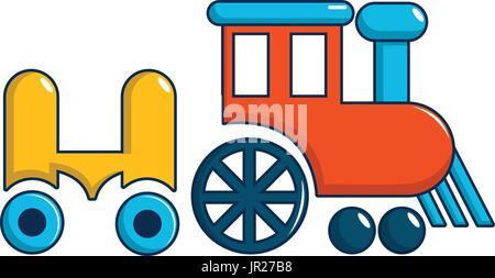 Children ride train icon, cartoon style - Stock Photo